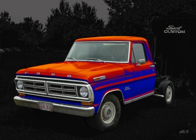 Ford F-100 Poster in black & red-blue mix