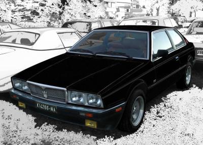 Maserati Biturbo Poster in black & white