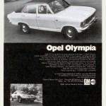 Opel Olympia A Werbung Advertising Publicité GM Italia anni 1970