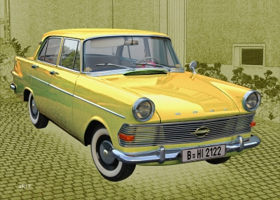 Opel Rekord P2 in yellow pure