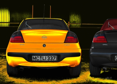 Opel Tigra Poster in black & yellow