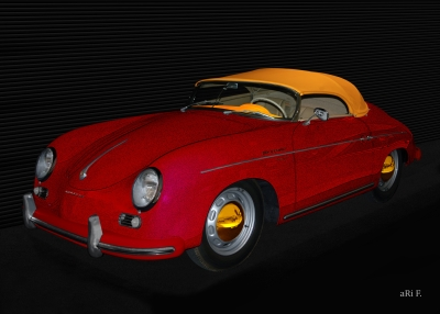Poster Porsche 356 A 1500 Speedster in red & yellow
