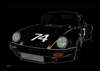 Poster Porsche 911 Carrera RSR 3.0 in black colors