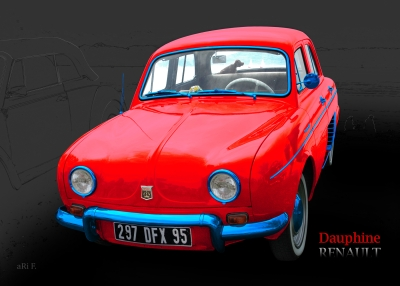Renault Dauphine Poster in tricolore-rouge 02