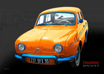 Renault Dauphine Poster in black & yellow