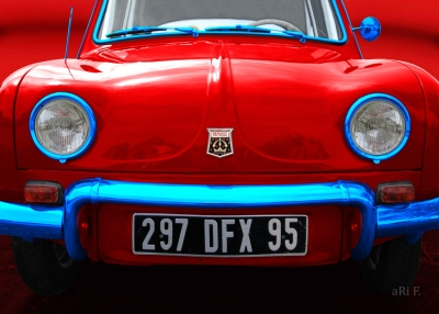 Renault Dauphine Poster in France tricolore-rouge