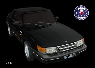 Saab 900 Cabrio Poster in black & black 01