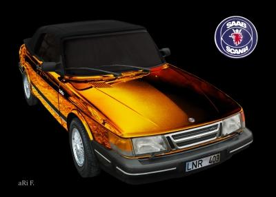 Saab 900 Cabrio Poster in black & orange mix