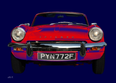 Triumph Spitfire Mk3 Poster in red & blue