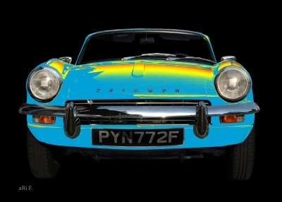 Triumph Spitfire Mk3 Pop-art Poster in blue yellow-mix