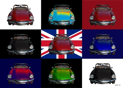 Triumph Spitfire Mk3 Poster with Union Jack in mixed colors