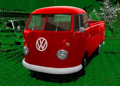 VW Typ 2 T1 Bulli Pritschenwagen Poster in red & green