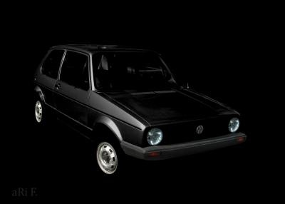 VW Golf 1 Poster in schwarz-weiß