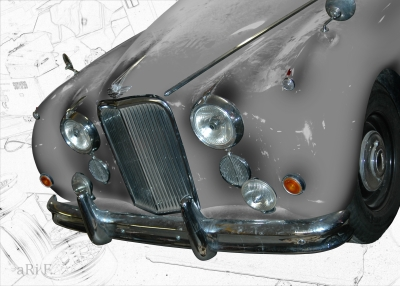Jaguar Mark VII Poster in black & grey