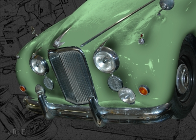 Jaguar Mark VII Poster in black & seagreen