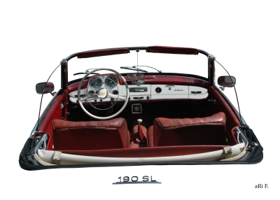 Mercedes-Benz 190 SL Poster Interieur in white pure
