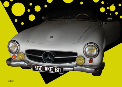 Mercedes-Benz 190 SL in white & yellow backround