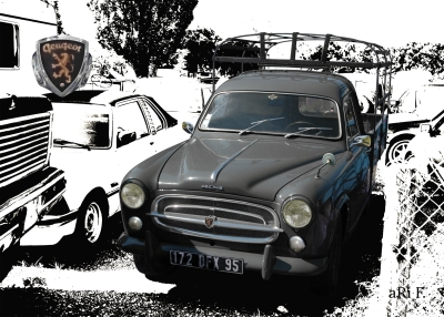 Peugeot 403 Camion Poster in black & white (Originalfarbe)