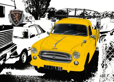 Peugeot 403 Camion Poster in white & yellow