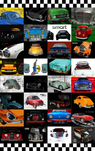 Oldtimer Poster mit 32 Classic Cars 01