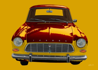 Ford Taunus 12M Poster in yellow-red mix