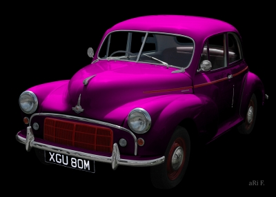 Morris Minor Poster in black & pink