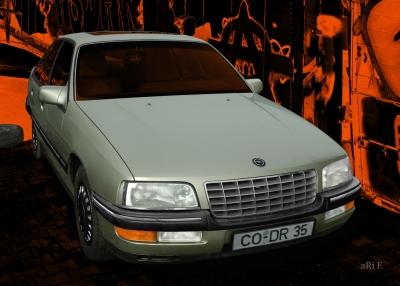 Opel Senator B in black & green metallic (Originalfarbe)