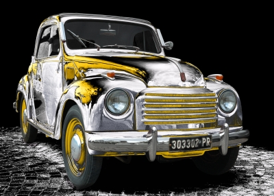 NSU-Fiat Topolino C in black & white-yellow