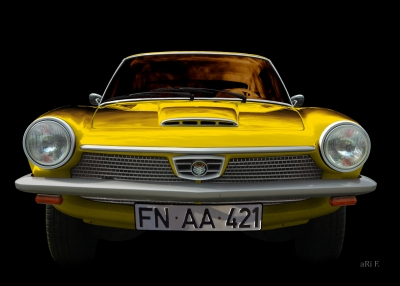 Glas 1300 GT Wandbild in black & yellow