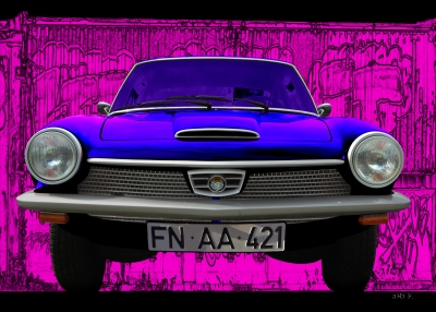Glas 1300 GT Poster in deeppink & blue