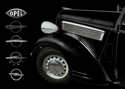 Opel Super 6 Cabriolet in black & black (Frontdetail)