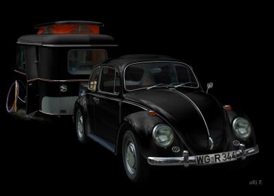 VW 1300 in black & darkblack mit Hymer-Oldtimer Wohnwagen