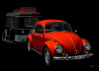 VW 1300 in black & redorange mit Eriba Familia Poster by aRi F.
