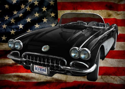 Corvette C1 Convertible Poster with US flag (1958-1961)