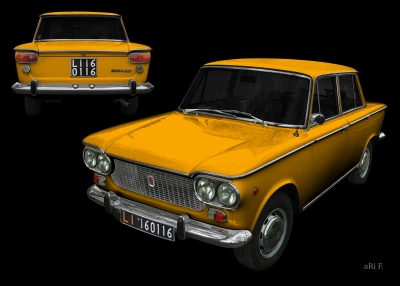 Fiat 1500 Poster in yellow (1961-1968)