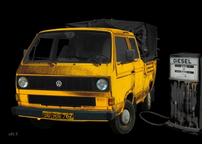 VW Typ 2 T3 Doka Pritsche Poster in black & yellow