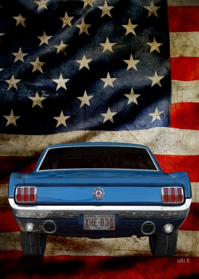Ford Mustang 1 with US flag (1964-1973) Bullit Steve McQueen