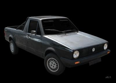VW Golf 1 Caddy Typ 14D Poster in Orignalfarbe schwarz
