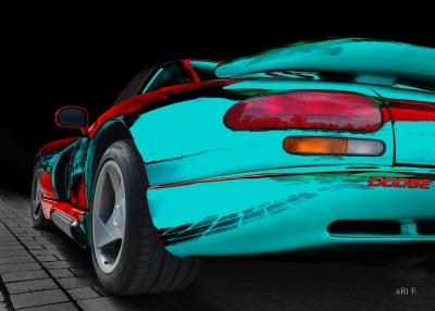 Dodge Viper Le Mans GT2 Poster in türkis & red