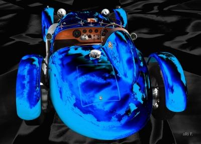 Ronart Jaguar W152 rear viiew Poster in blue