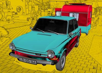 DAF 44 mit Weferlinger Wohnwagen LC9-200 Poster
