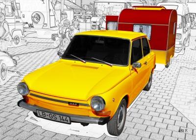 DAF 44 mit Weferlinger Wohnwagen LC9-200 Poster in yellow