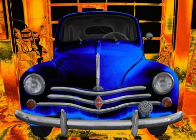 Renault 4CV in blue & orange Classic Car Poster