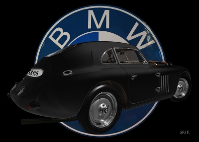 BMW 328 Touring Coupé Le Mans Advertising Poster