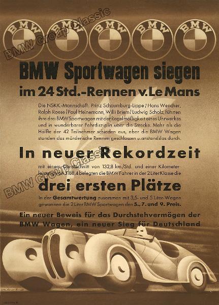 Plakat BMW Sportwagen siegen im 24 Std.-Rennen v. Le Mans 1939