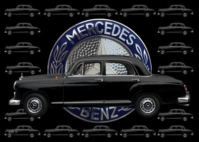 Mercedes-Benz 190 Db Poster mit Original Mercedes-Logo