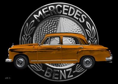 Poster Mercedes-Benz 190 mit Mercedes-Logo