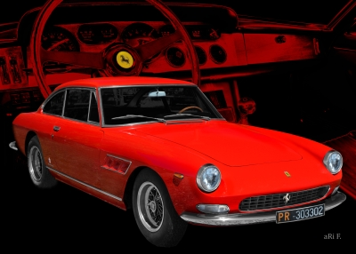 Ferrari 330 GT mit Interieur Poster in Ferrari Rot