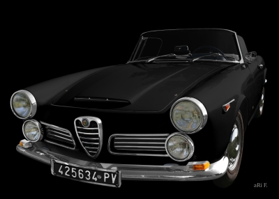 Alfa Romeo 2600 Spider Poster in black