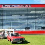 Audi 100 C1 mit Wohnwagen auf dem Erwin Hymer Museumsgelände